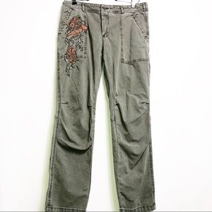 Anthro Wanderer Embrioidered Khaki Pants Green 27